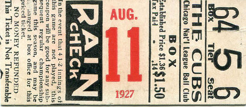 1927 CHicago Cubs vs. New York Giants Unsigned Regular Season Ticket