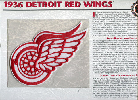 1936 Detroit Red Wings Unsigned Patch with Card