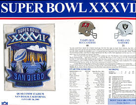 Super Bowl 37 Patch and Game Details Card