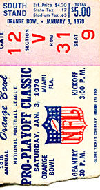 10th Annual Pro Football Classic Unsigned January 3 1970 Footbal Ticket Stub