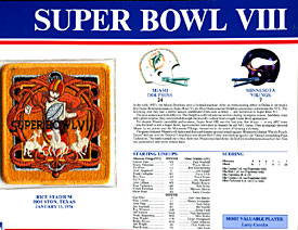 Super Bowl 8 Patch and Game Details Card