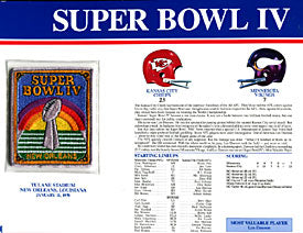 Super Bowl 4 Patch and Game Details Card