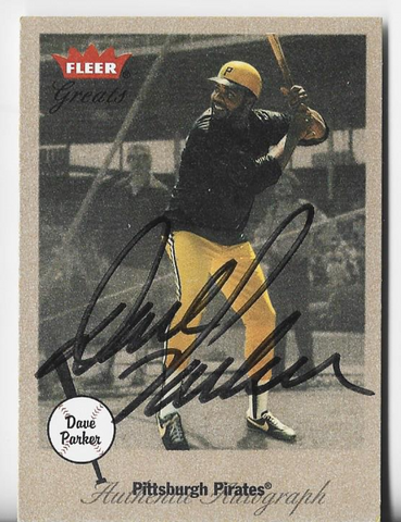 Dave Parker 2002 Fleer Greats Autograph Card