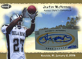 Justin McKinney Autographed / Signed 2008 SAGE No.25 of 50 Kansas State College Football Card