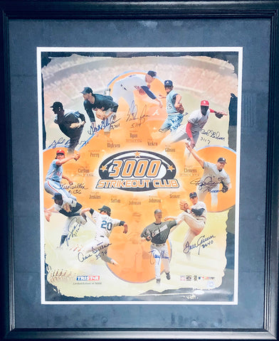 3000 Strikeout Club Autographed Framed 16x20 Photo (Tristar)