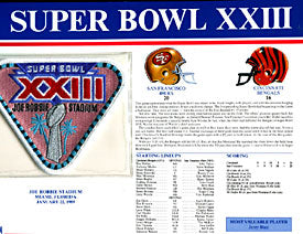 Super Bowl 23 Patch and Game Details Card