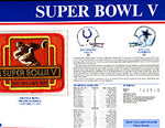 Super Bowl 5 Patch and Game Details Card