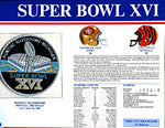 Super Bowl 16 Patch and Game Details Card