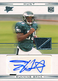 Tony Hunt Autographed / Signed 2007 Topps No.113 Philadelphia Eagles Football Rookie Card