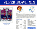 Super Bowl 19 Patch and Game Details Card