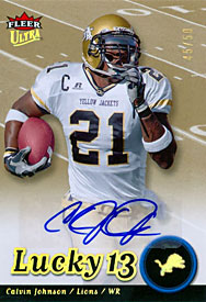 Calvin Johnson Autographed / Signed 2007 Fleer Ultra Lucky 13 Card