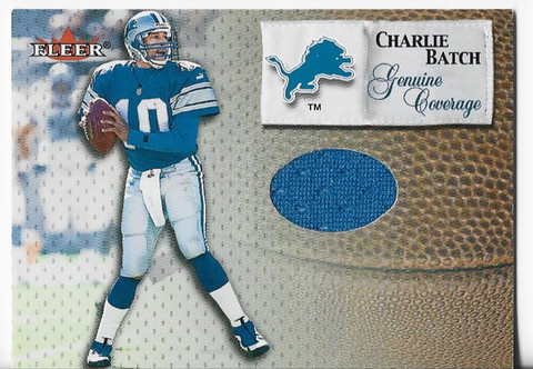 Charlie Batch 2000 Fleer Game Used Jersey Card