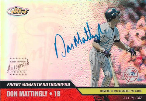 Don Mattingly 2002 Autographed Topps Finest Card
