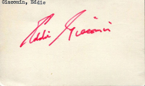 Eddie Giacomin Autographed / Signed 3x5 Card