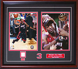 Dwyane Wade Dual Framed 8x10 Photos w/ Game Used Jersey Piece