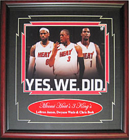 LeBron James Dwyane Wade & Chris Bosh Unsigned 8x10 Framed
