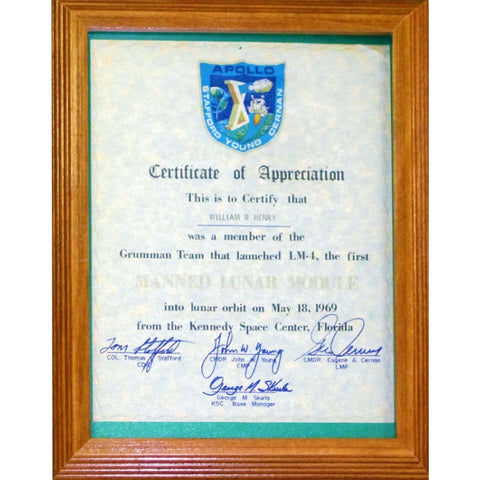 William R. Henry Unsigned Certificate of Appreciation