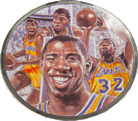 Magic Johnson Unsigned Gold Plated Plate