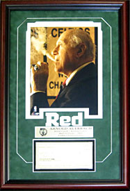 Red Auerbach Autographed / Signed Framed Check w/ Unsigned 8x10 Photo