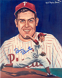 Robin Roberts Autographed Phillies Baseball 8x10 Portrait - Signed by Artist
