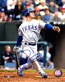 Hank Blalock Autographed / Signed Hitting 8x10 Photo