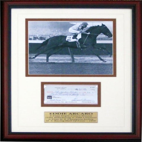 Eddie Arcaro Autographed Framed Check w/ Unsigned 8x10 Photo