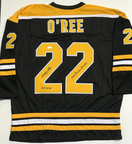 "Willie O'Ree ""HOF 2018, Barrier Breaker 58"" Autographed Boston Bruins Jersey"