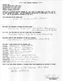 Gus Zernial Autographed Hand Filled Out Survey Page (JSA)