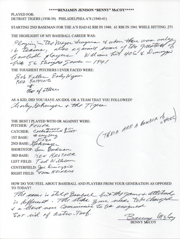 Benny McCoy Autographed Hand Filled Out Survey Page (JSA)
