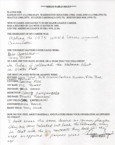Diego Segui Autographed Hand Filled Out Survey Page (JSA)