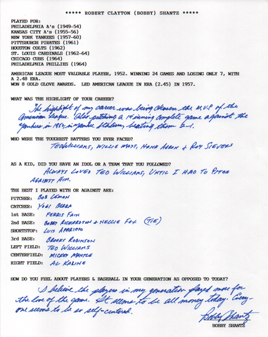 Bobby Shantz Autographed Hand Filled Out Survey Page (JSA)