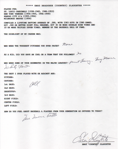 Enos Slaughter Autographed Hand Filled Out Survey Page (JSA)