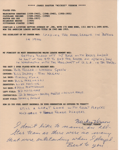 Mickey Vernon Autographed Hand Filled Out Survey Page (JSA)