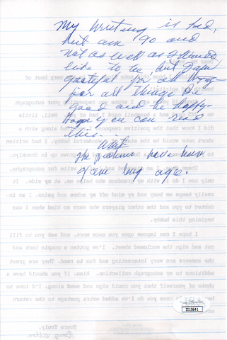 Whit Wyatt Autographed Hand Filled Out Survey Page & Letter (JSA)