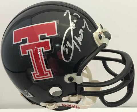 Zach Thomas Autographed Texas Tech Mini Helmet (JSA)