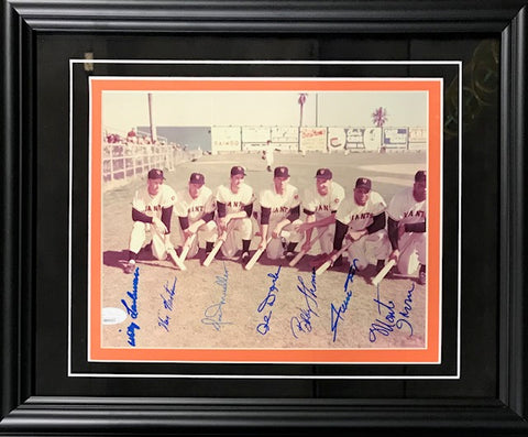 New York Giants Autographed Framed  8x10 Photo w/ Irvin, Mays (JSA)