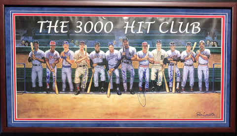 The 3000 Hit Club Autographed Framed 21x39 Litho