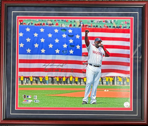 "David Ortiz ""This is our F'N City"" Autographed Framed 16x20 Photo (BVG)"