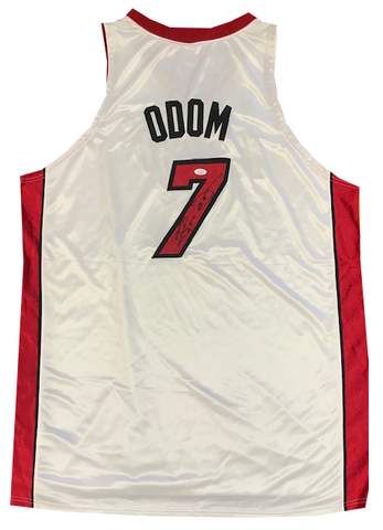 Lamar Odom Autographed Authentic Miami Heat Jersey (JSA)