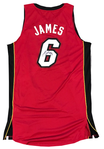 LeBron James Autographed Authentic Red Miami Heat Jersey 31/500 (JSA)