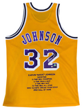 Magic Johnson Autographed Los Angeles Lakers Career Stat Jersey