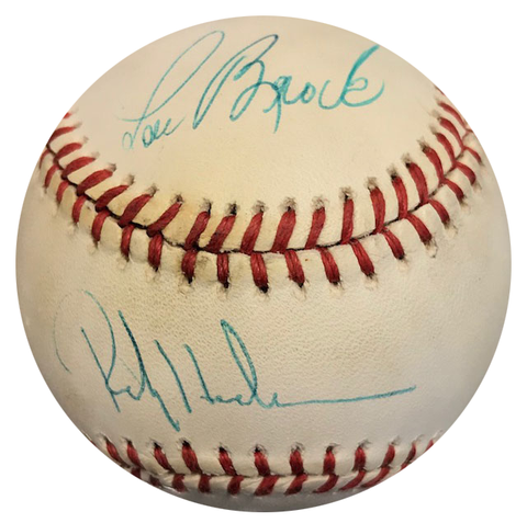 Lou Brock & Rickey Henderson Autographed Official National League Baseball (JSA)