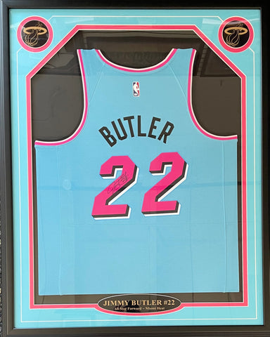 Jimmy Butler Autographed Framed Miami Heat Vice Wave Jersey