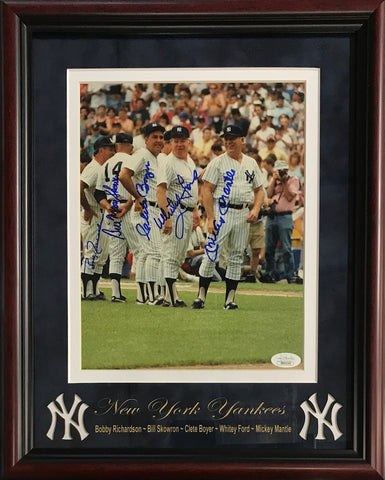 New York Yankees Old Timers Day Autographed Framed 8x10 Photo (JSA)