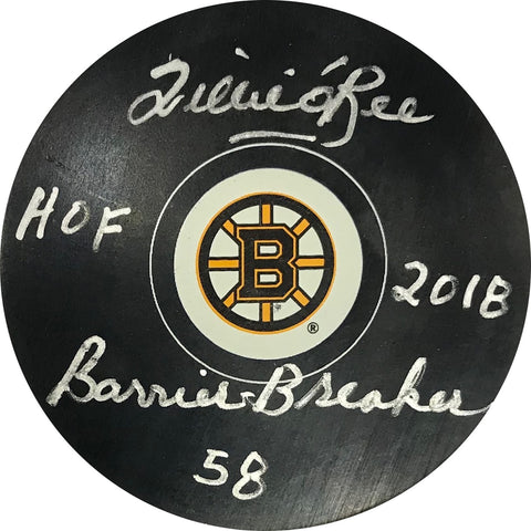 "Willie O'Ree ""HOF 2018, Barrier Breaker 58"" Autographed Boston Bruins Puck"