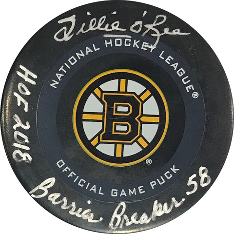 "Willie O'Ree ""HOF 2018, Barrier Breaker 58"" Autographed Boston Bruins Official Puck"
