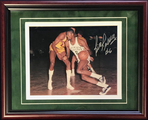 Bill Russell Autographed Framed vs. Wilt Chamberlain 8x10 Color Photo
