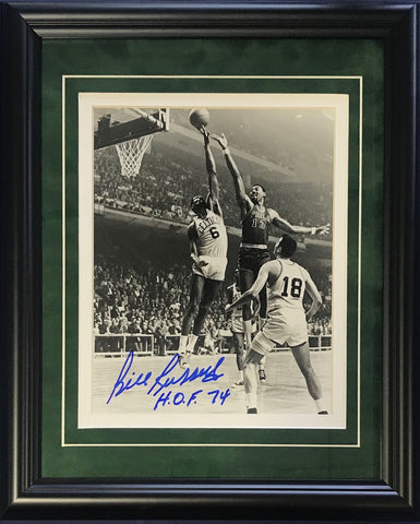 "Bill Russell ""HOF 74"" Autographed Framed Blocking Wilt Chamberlain 8x10 Photo"