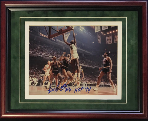 "Bill Russell ""HOF 74"" Autographed Framed Dunking on Wilt Chamberlain 8x10 Photo"