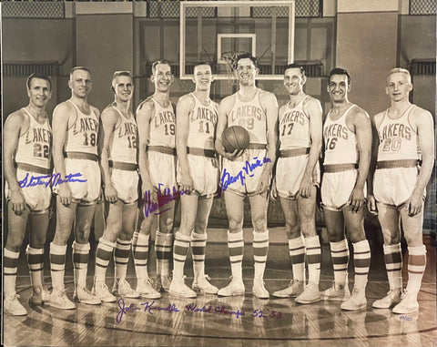 George Mikan & Others Autographed 16x20 Basketball Photo 89/100